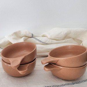 Vintage Speckled Stoneware Soup Mugs Bowls